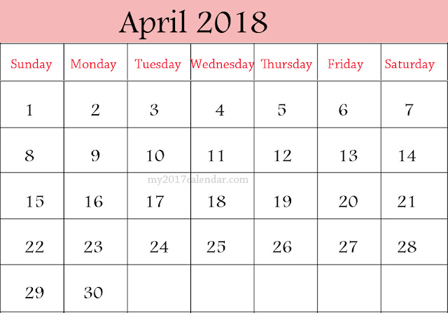 April 2018 Calendar, April Calendar 2018, April 2018 Calendar Printable, April 2018 Calendar Template, Free 2018 April Calendar