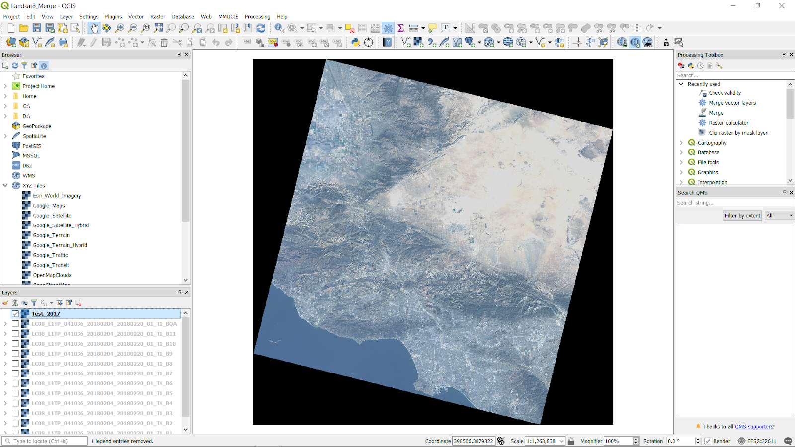 Basic Processing (from downloading to merging) Landsat 8 Raw