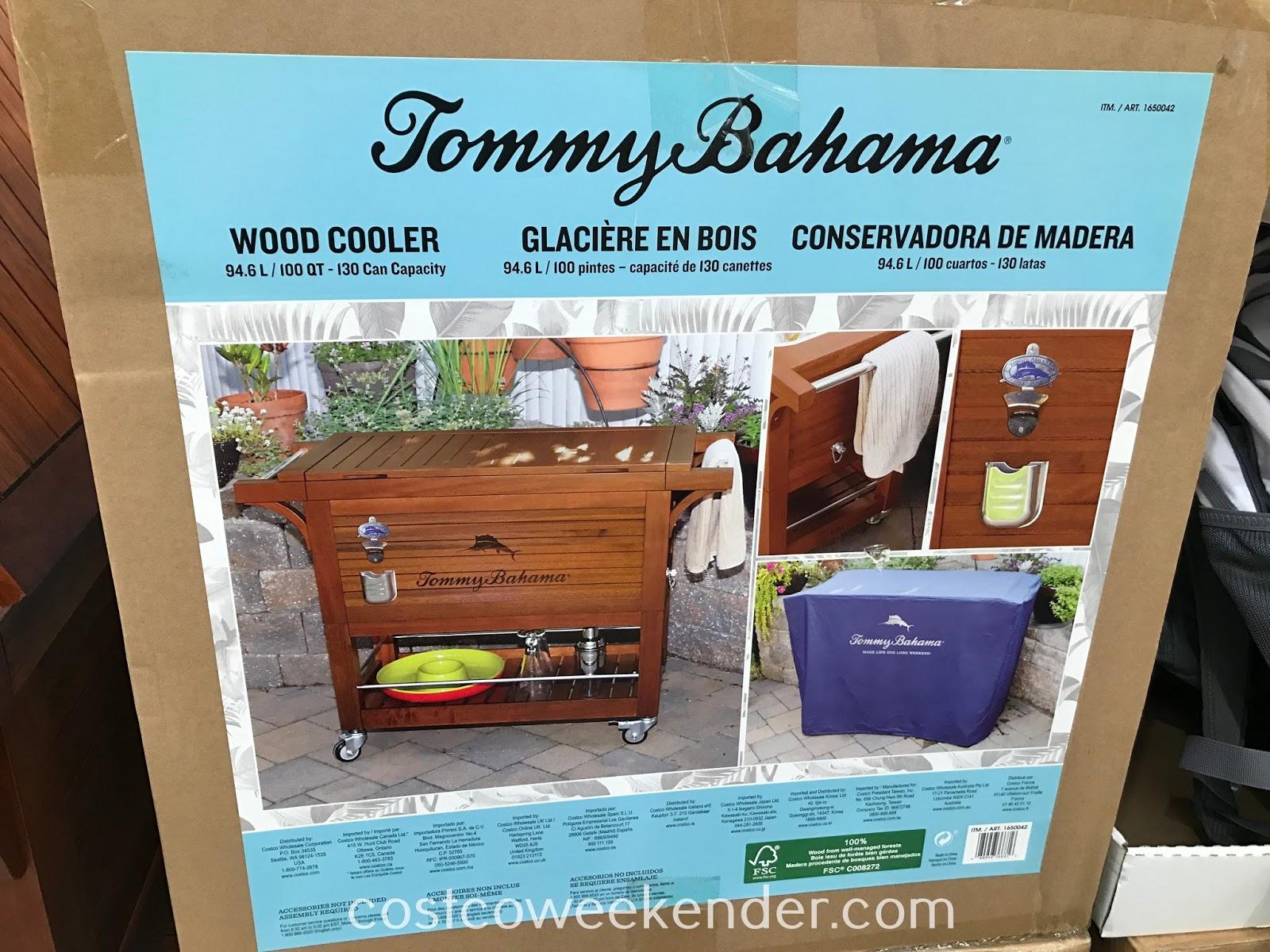 tommy bahama 100qt wood rolling cooler