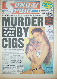 Front cover page for Sunday Sport on 9 November 1986