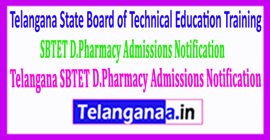 Telangana SBTET D.Pharmacy Admissions Notification 2018 - 2019