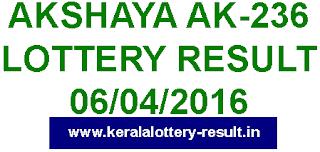 Kerala lottery result, Akshaya Lottery result, Akshay AK-236 lottery result, Todays Akshaya Ak236 Lottery result, Kerala lotteries Akshaya AK 236 result, Kerala Akshaya AK-236 lottery result today 06-04-2016