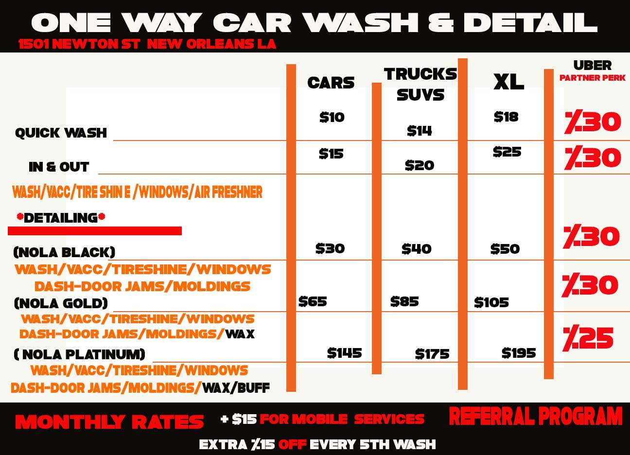 Car Wash Prices: One Way Car Wash & Detail Co