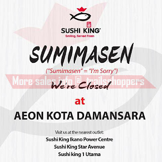 Sushi King AEON Kota Damansara is permanently closed.