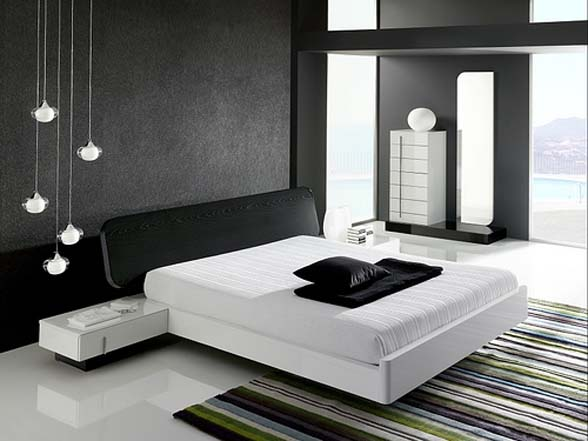 photo chambre coucher design noir et blanc moderne