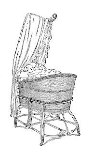 baby bassinet image vintage download illustration