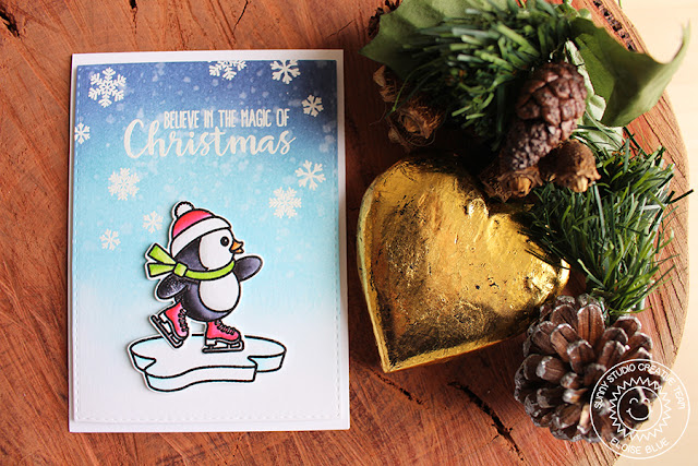 Sunny Studio Stamps: Snow Kissed Snowflake & Ice Skating Penguin Card by Eloise Blue
