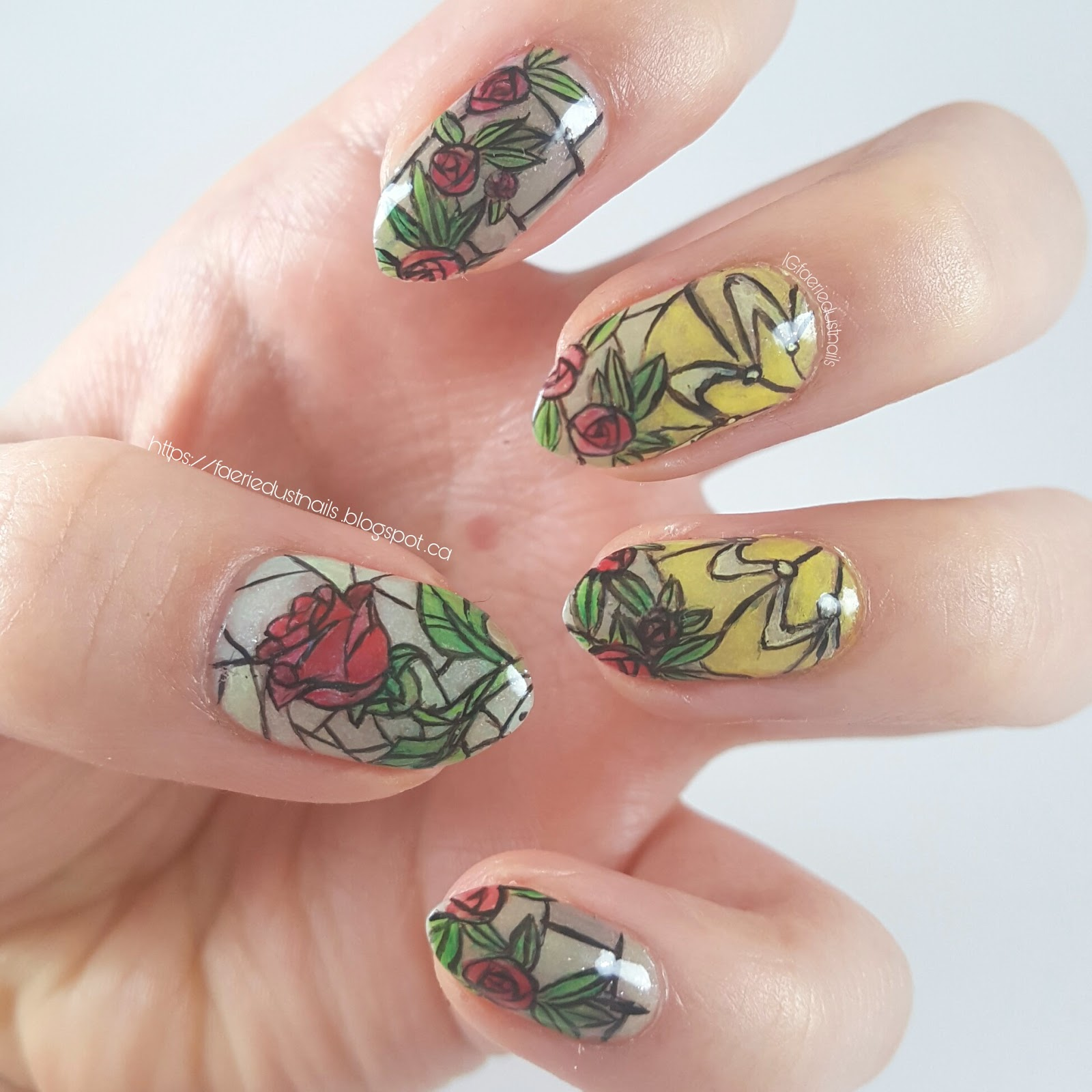 FaerieDust Nails: Beauty and the Beast Stained Glass Nails (with ...