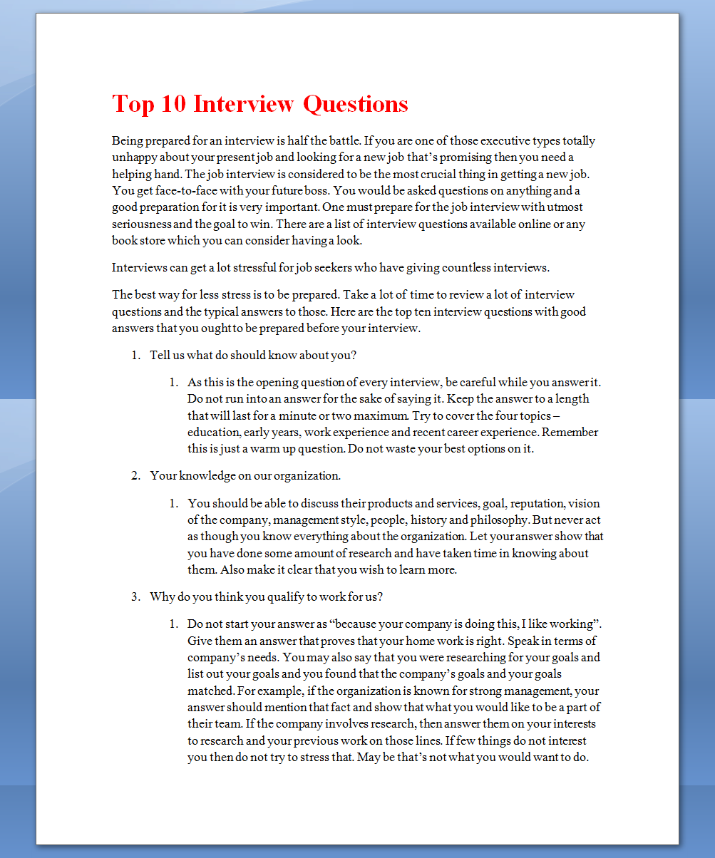 See Once Top 10 Interview Questions