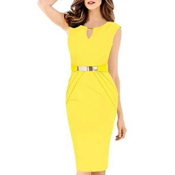 Peplum Yellow midi summer dress