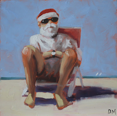 painting of Santa Claus sitting in beach chair, beach painting, santa at the beach