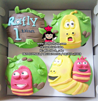 Cupcake 2d Fondant Tema Kartun Larva