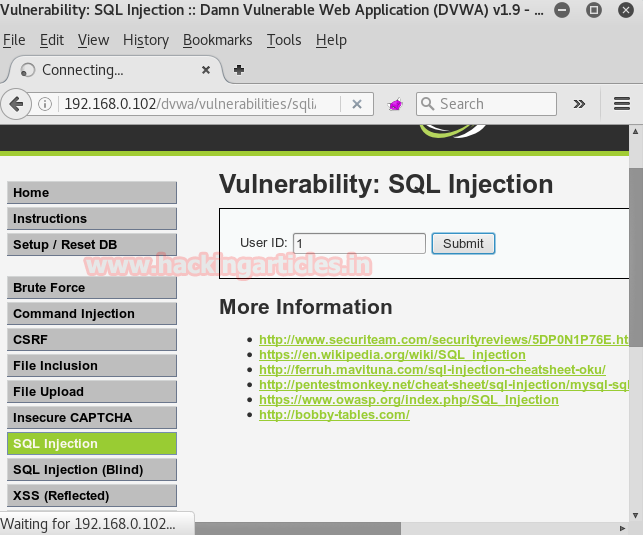 Command Injection Exploitation through Sqlmap in DVWA (OS-cmd)