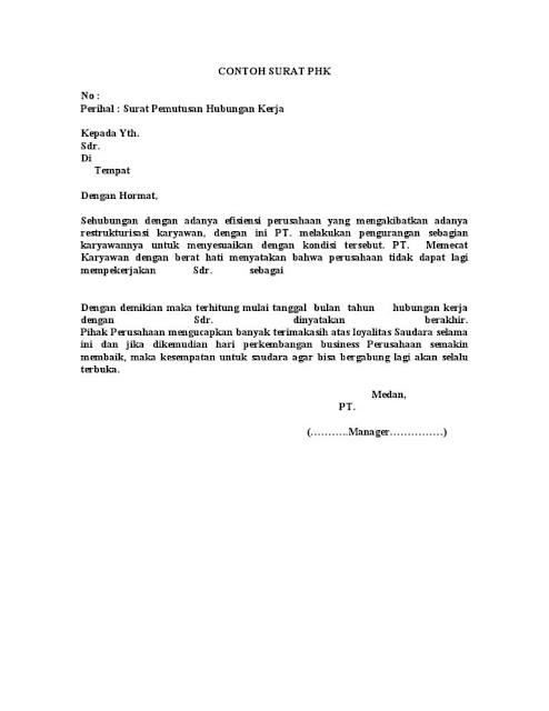 Contoh Surat Keputusan Pemberhentian Kerja Karyawan