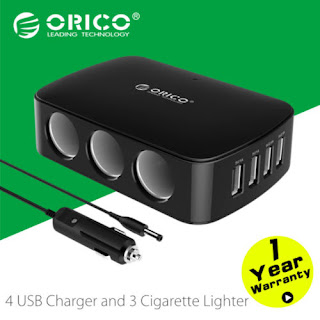 ORICO Black 4 USB Charger with 3 Cigarette Lighter Functional for Car Phone