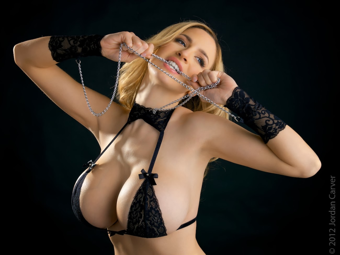 Jordan Carver Tiny Black Magic Bikini And Silver Chain
