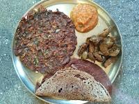 Ragi carrot roti, Ragi Dosa,  Brinjal Masala, Tomato Onion chutney
