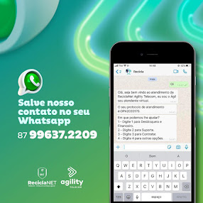 Contatos via Whatsapp ReciclaNet Agility Telecom