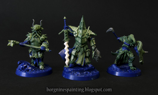 All three converted Steelheart's Champions warband together, with lots of greenstuff and blue plastic visible where the miniatures were unchanged.