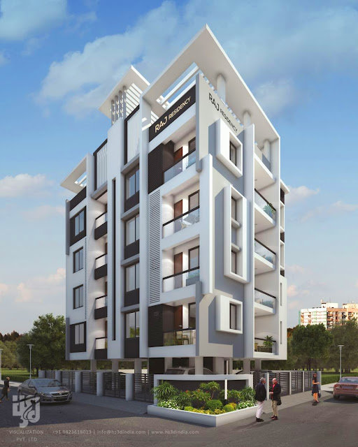 3D LUXURY APARTMENT EXTERIOR ELEVATION DESIGN DAY RENDERING