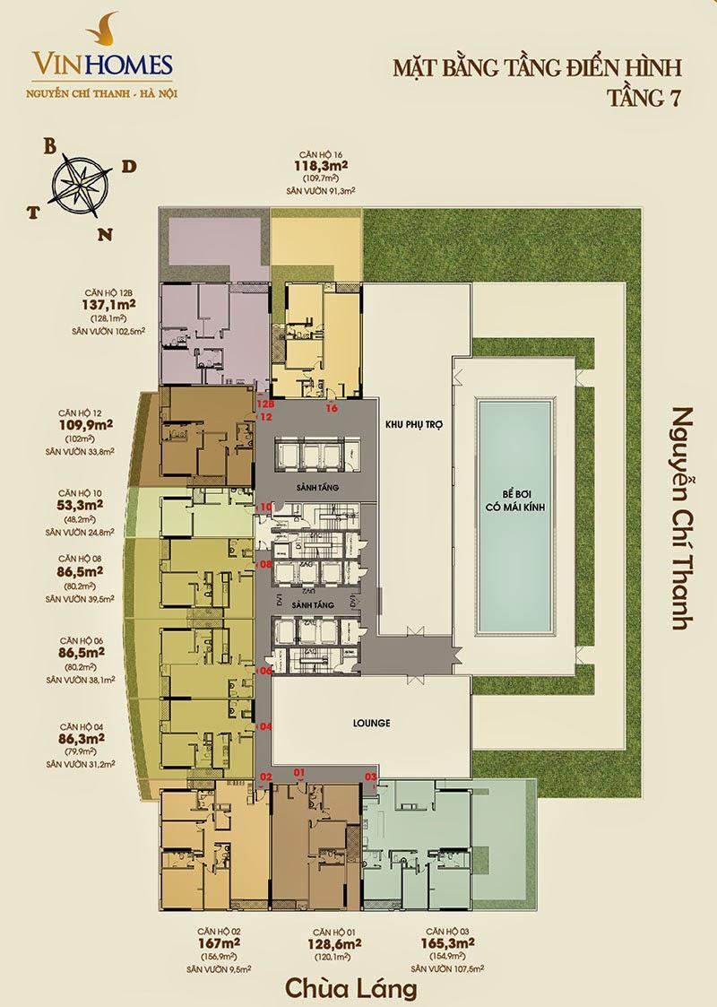 Mặt bằng tầng 7 chung cư Vinhomes Nguyễn Chí Thanh