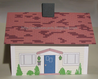 Pink roof Cape Cod doll house paper house
