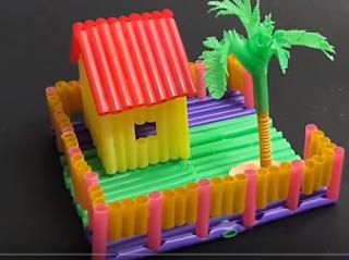 cara membuat maniatur  rumah dari sedotan
