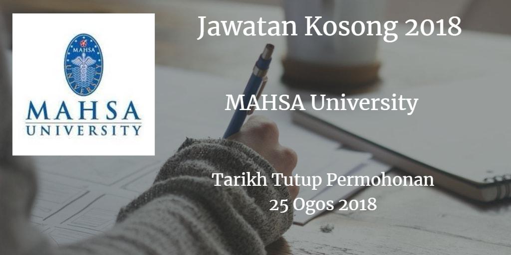 Jawatan Kosong MAHSA University 25 Ogos 2018