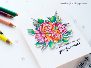Pencils Coloured Floral Cards