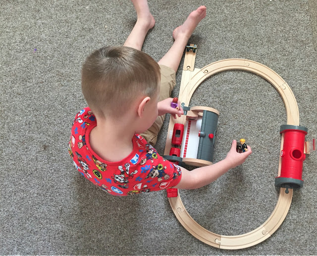Playing with Brio Metro Trainset