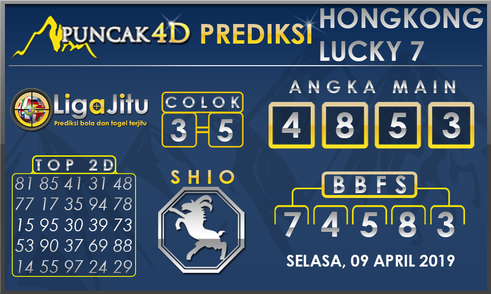 PREDIKSI TOGEL HONGKONG LUCKY7 PUNCAK4D 09 APRIL 2019