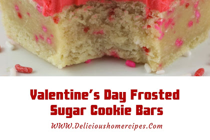 Valentine's Day Frosted Sugar Cookie Bars #valentine #dessert