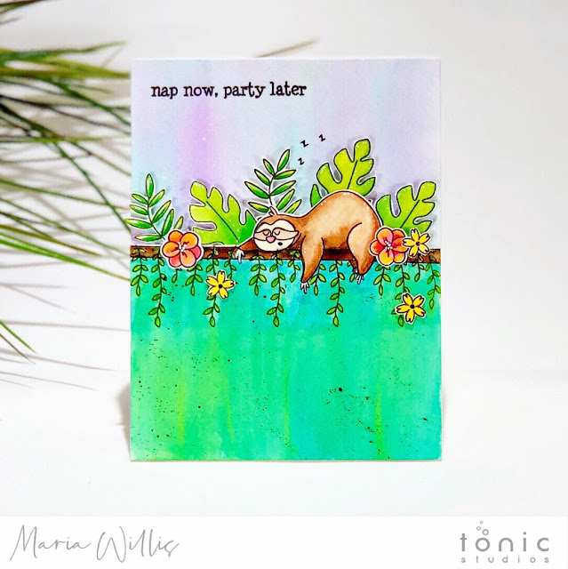 #cardbomb, #mariawillis, #tonicstudios, #tonicstudiosusa, Sammy Takes It Easy, #nuvo, aqua flow pens, #watercolor, sloth, art, #handmadecards, #handmade, #color, diy, #card, #stamp, #ink, #paper,