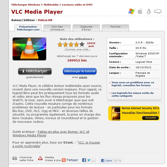 vlc media player 2012 gratuit sur 01net