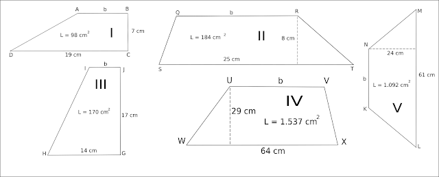 masing bangkit trapesium di bawah ini dgn sempurna  Soal SD Bab Trapesium - Mencari Luas, Tinggi, Sisi Alas ( a ) dan Sisi Atas ( b ) Dan Kunci Jawaban Pembahasannya
