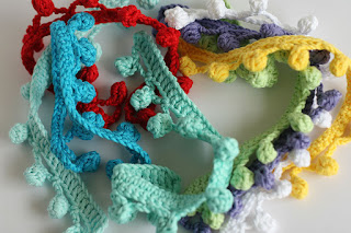 Handmade crochet cotton pompom trim ribbon