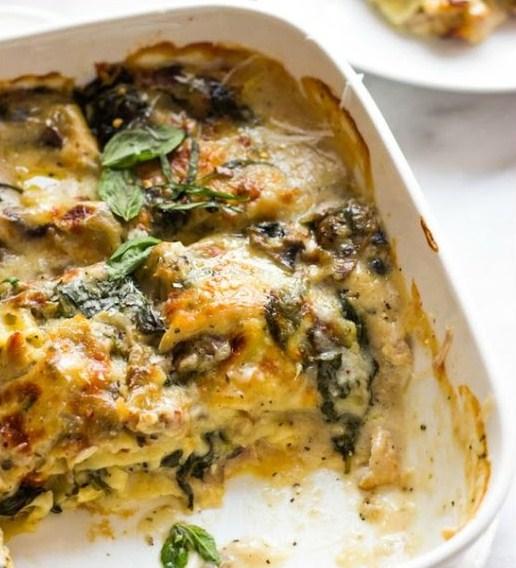 Chicken Mushroom and Spinach Lasagna