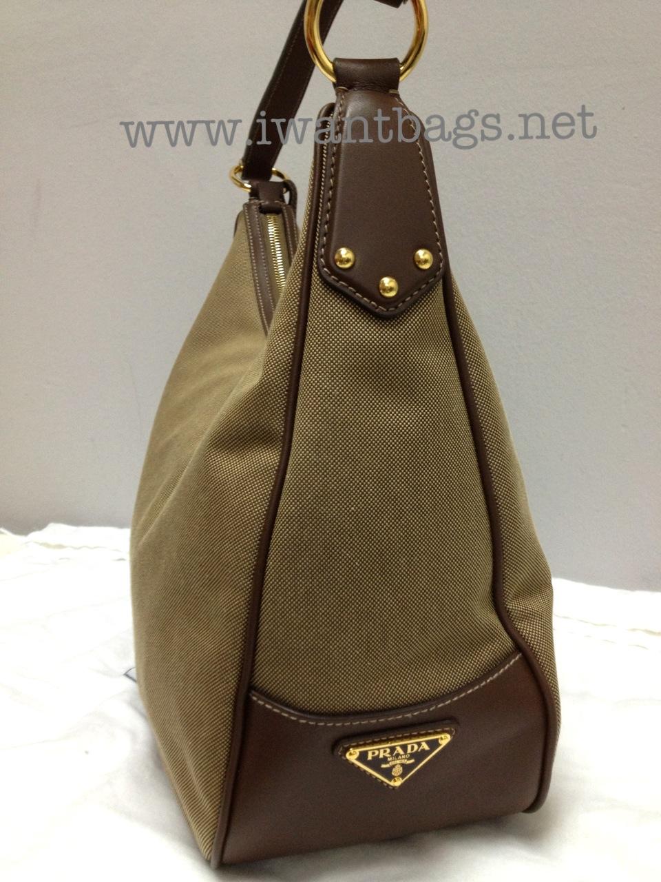 0174f78fb316 I Want Bags backup: Prada BR3422 Logo Jacquard Canvas Hobo -Brown