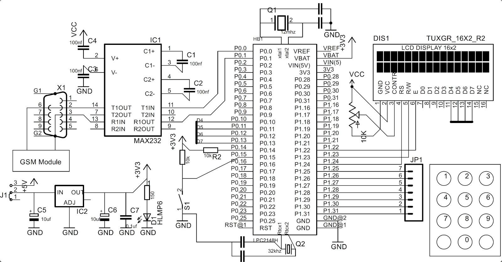 circuitdiagramtointerfacekeypadwithlpc2148