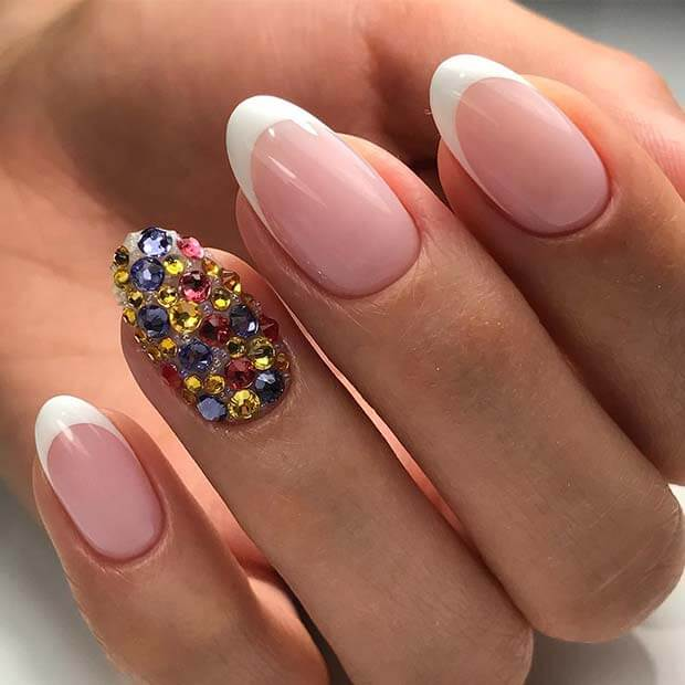 37 Latest Nails Art Styles 2018 with Rhinestones - Fashionuki