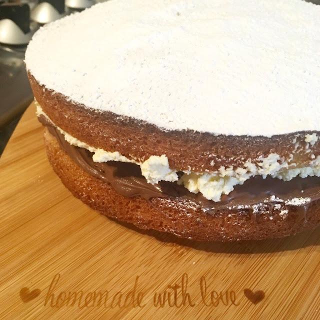 Nutella Victoria Sponge Cake with cream