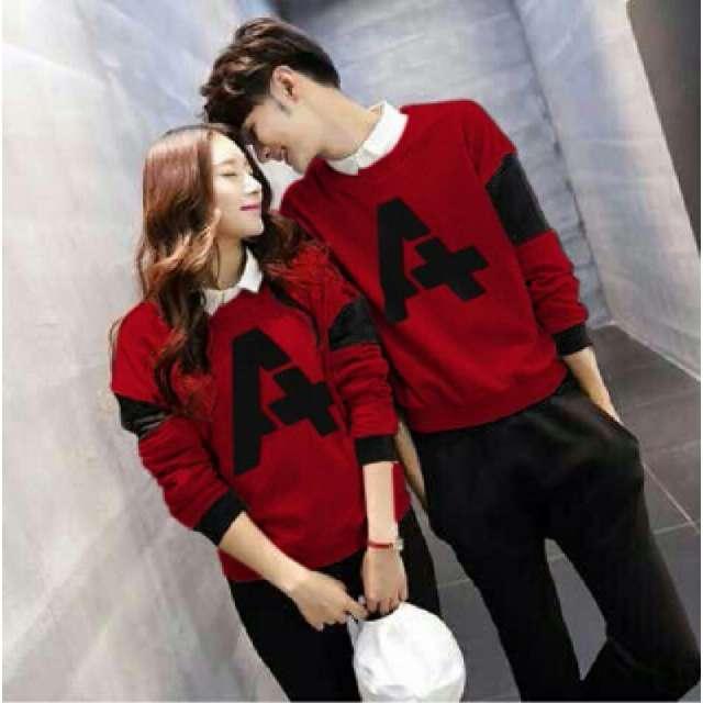 Baju Kaos Couple Andhani Warna Merah Maroon Setelan Kaos buat Pasangan
