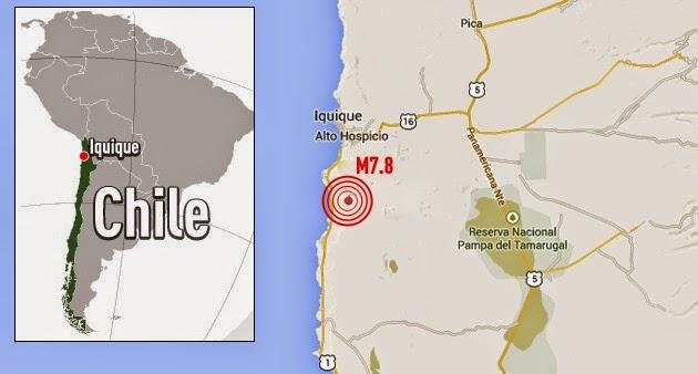 TERREMOTO 7,8 GRADOS Y ALERTA DE TSUNAMI EN CHILE, 03 DE ABRIL 2014