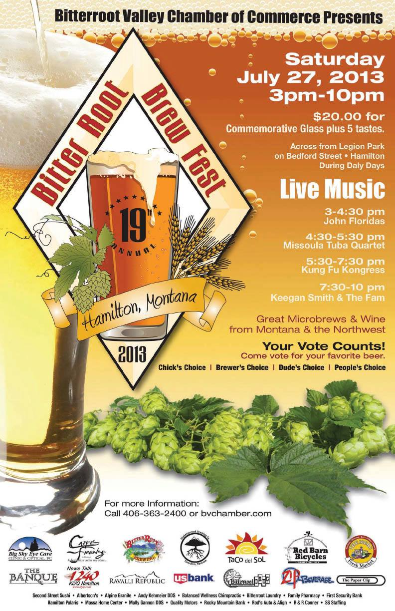 Montana Beer Finder 19th Annual Bitterroot Brew Fest July 27 In