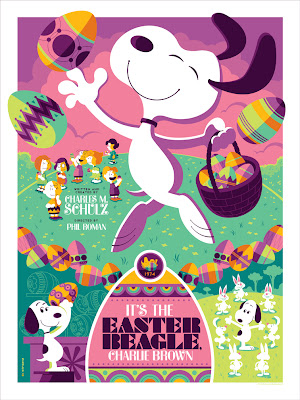 "Dark Hall Mansion - ""It's the Easter Beagle, Charlie Brown!"" Peanuts Variant Screen Print by Tom Whalen"