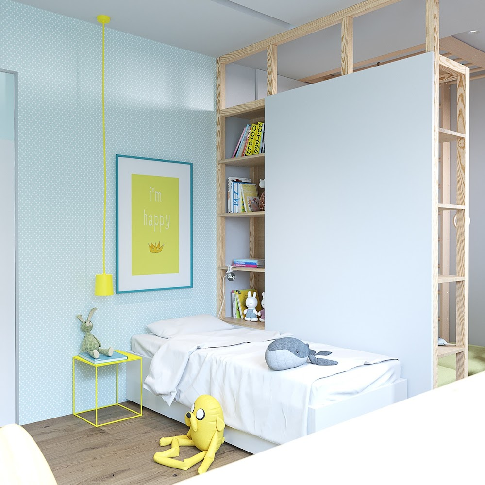 childrens-room-yellow-art-white-bedding