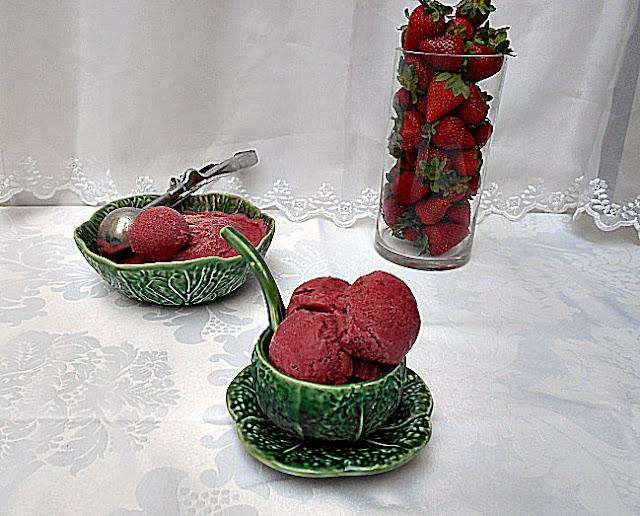 receita de gelado de morango sem acucar
