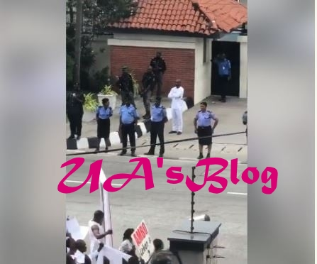 Tinubu's House Under Tight Security As Ambode's Supporters Storm Ikoyi (Photos)