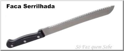 Foto de uma Faca Serrilhada ou Faca de Pão que em inglês tem o nome Serrated Knife