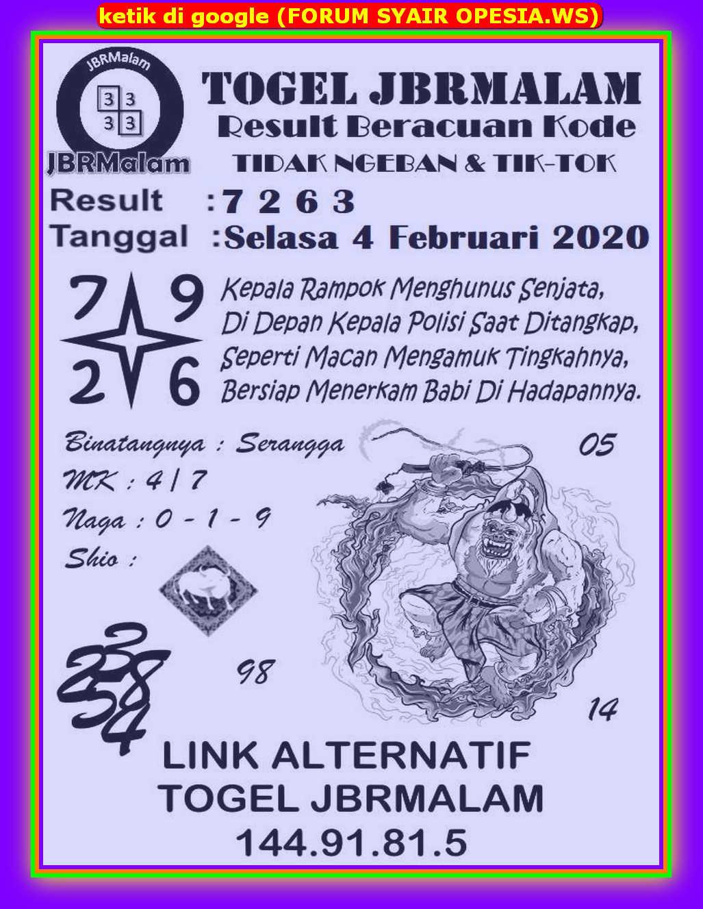 Kode syair Hongkong Selasa 4 Februari 2020 67